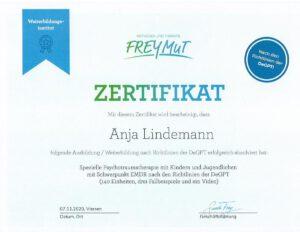 Anja Lindemann | Psychotherapie | Zertifikat Traumatherapie